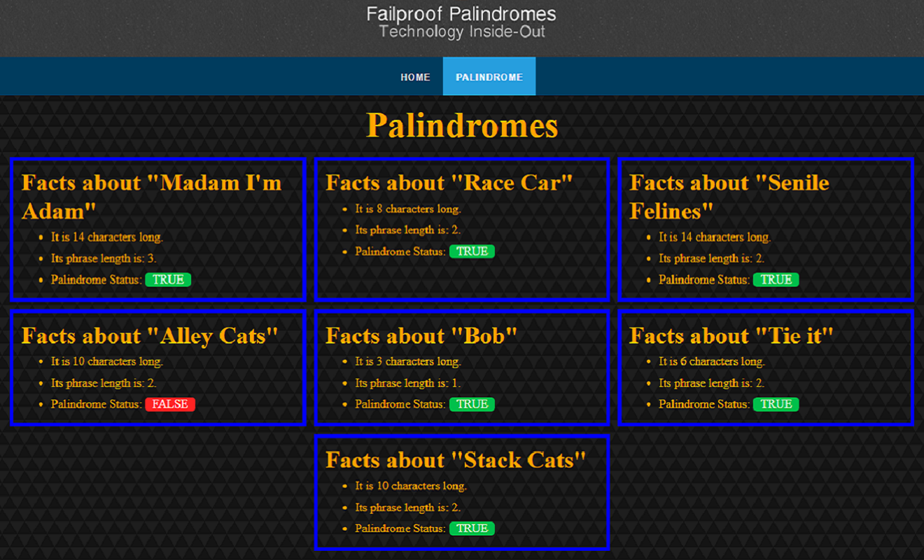 Palindrome Database Screenshot