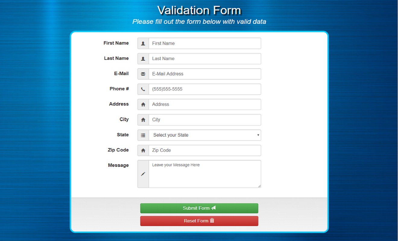 Data Validation Screenshot